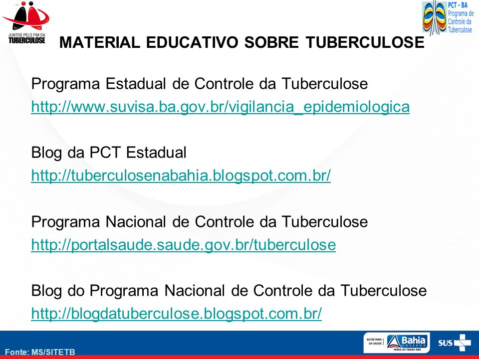 Fonte: MS/SITETB MATERIAL EDUCATIVO SOBRE TUBERCULOSE Programa Estadual de Controle da Tuberculose http://www.suvisa.ba.gov.br/vigilancia_epidemiologi
