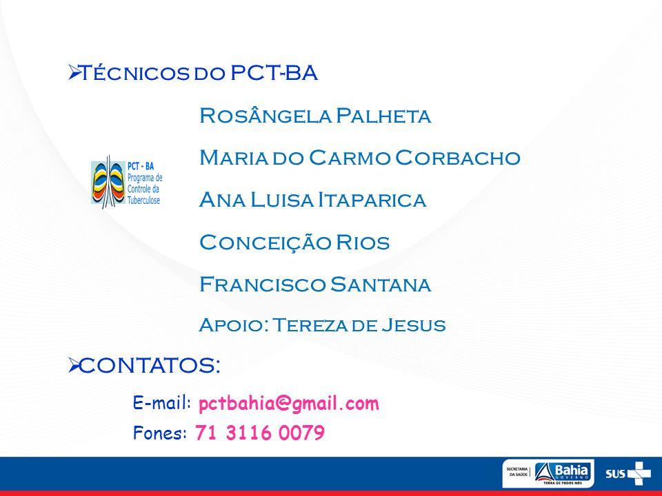 Técnicos do PCT-BA Rosângela Palheta Maria do Carmo Corbacho Ana Luisa Itaparica Conceição Rios Francisco Santana Apoio: Tereza de Jesus CONTATOS: E-m