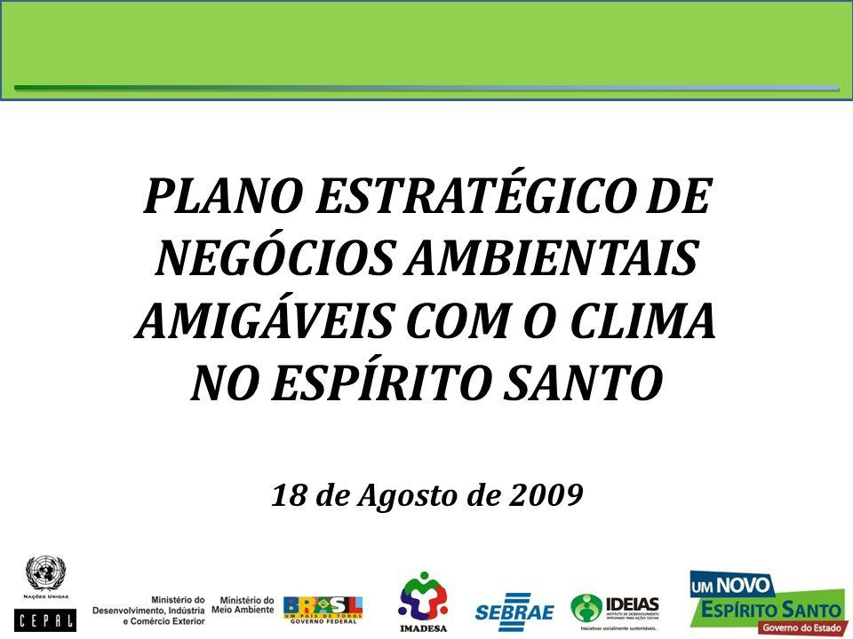 PLANO ESTRATÉGICO DE NEGÓCIOS AMBIENTAIS AMIGÁVEIS COM O CLIMA NO ESPÍRITO SANTO 18 de Agosto de 2009
