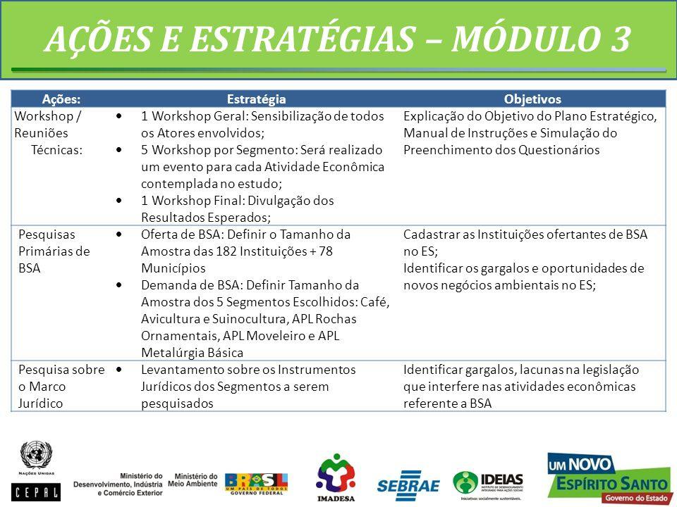 AÇÕES E ESTRATÉGIAS – MÓDULO 3 Ações:EstratégiaObjetivos Workshop / Reuniões Técnicas: 1 Workshop Geral: Sensibilização de todos os Atores envolvidos;