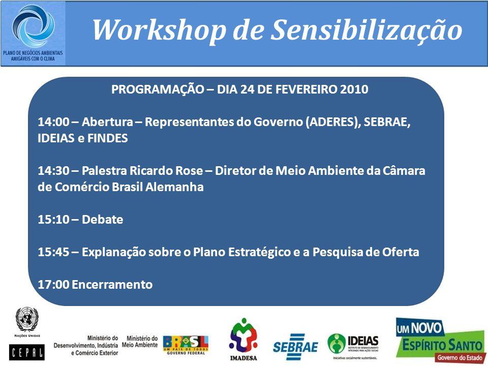 Workshop de Sensibilização PROGRAMAÇÃO – DIA 24 DE FEVEREIRO 2010 14:00 – Abertura – Representantes do Governo (ADERES), SEBRAE, IDEIAS e FINDES 14:30 – Palestra Ricardo Rose – Diretor de Meio Ambiente da Câmara de Comércio Brasil Alemanha 15:10 – Debate 15:45 – Explanação sobre o Plano Estratégico e a Pesquisa de Oferta 17:00 Encerramento