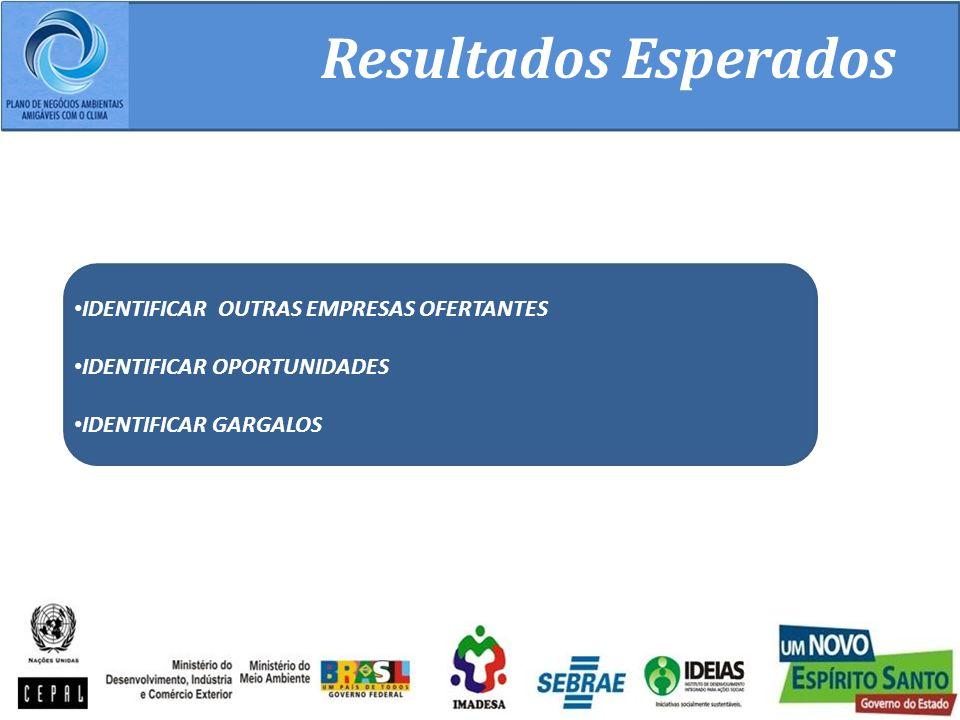 Resultados Esperados IDENTIFICAR OUTRAS EMPRESAS OFERTANTES IDENTIFICAR OPORTUNIDADES IDENTIFICAR GARGALOS