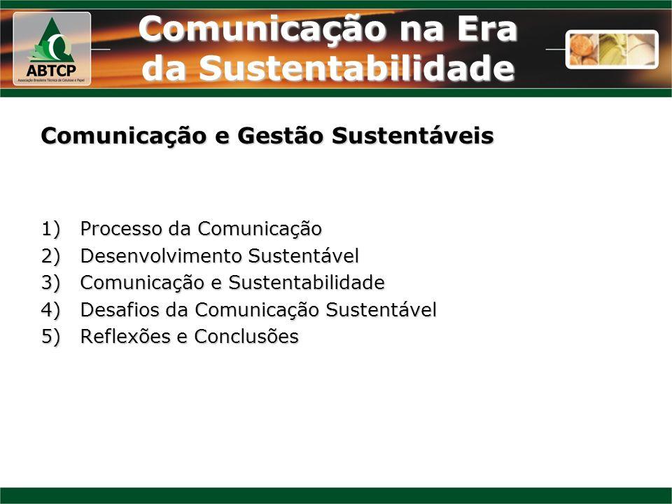 Comunicação na Era da Sustentabilidade 1)Processo da Comunicação EmissorEmissor ReceptorReceptor MensagemMensagem Código (linguagem)/decodificaçãoCódigo (linguagem)/decodificação Gera uma resposta/feedbackGera uma resposta/feedback