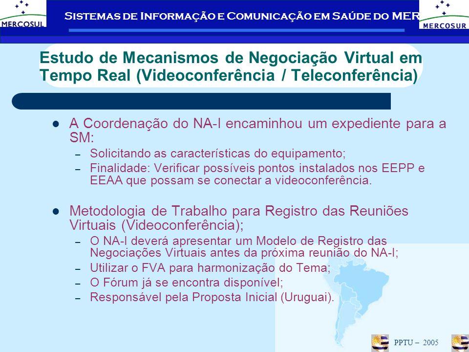 Sistemas de Informação e Comunicação em Saúde do MERCOSUL PPTU – 2005 Estudo de Mecanismos de Negociação Virtual em Tempo Real (Videoconferência / Teleconferência) A Coordenação do NA-I encaminhou um expediente para a SM: – Solicitando as características do equipamento; – Finalidade: Verificar possíveis pontos instalados nos EEPP e EEAA que possam se conectar a videoconferência.