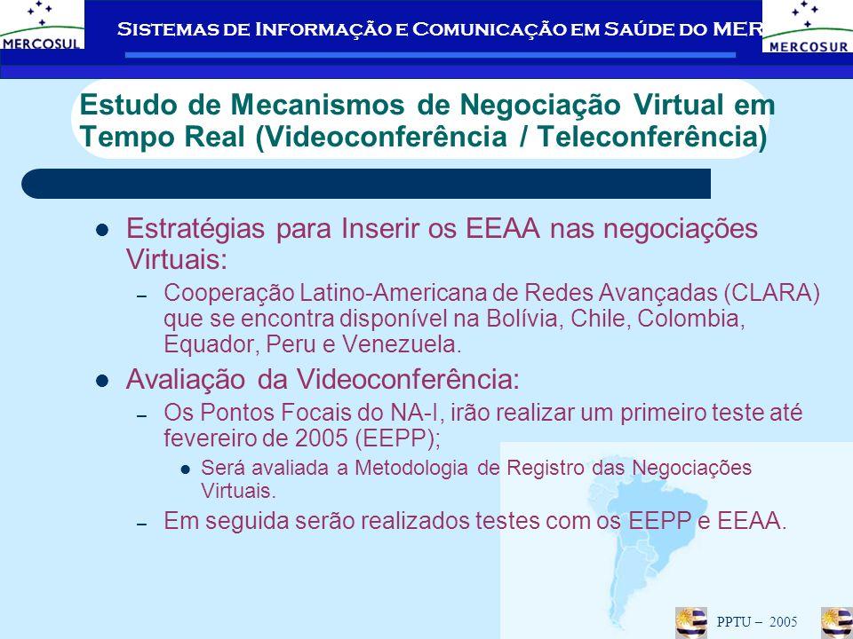 Sistemas de Informação e Comunicação em Saúde do MERCOSUL PPTU – 2005 Estudo de Mecanismos de Negociação Virtual em Tempo Real (Videoconferência / Teleconferência) Estratégias para Inserir os EEAA nas negociações Virtuais: – Cooperação Latino-Americana de Redes Avançadas (CLARA) que se encontra disponível na Bolívia, Chile, Colombia, Equador, Peru e Venezuela.