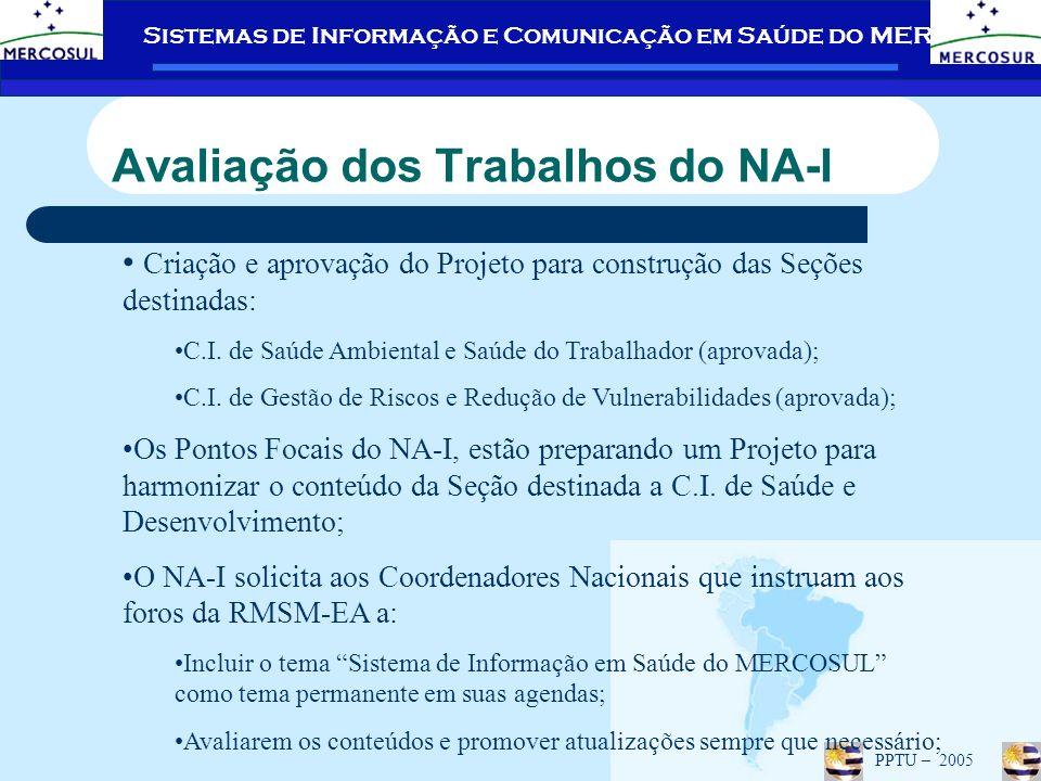 Sistemas de Informação e Comunicação em Saúde do MERCOSUL PPTU – 2005 Avaliação dos Trabalhos do NA-I Criação e aprovação do Projeto para construção das Seções destinadas: C.I.