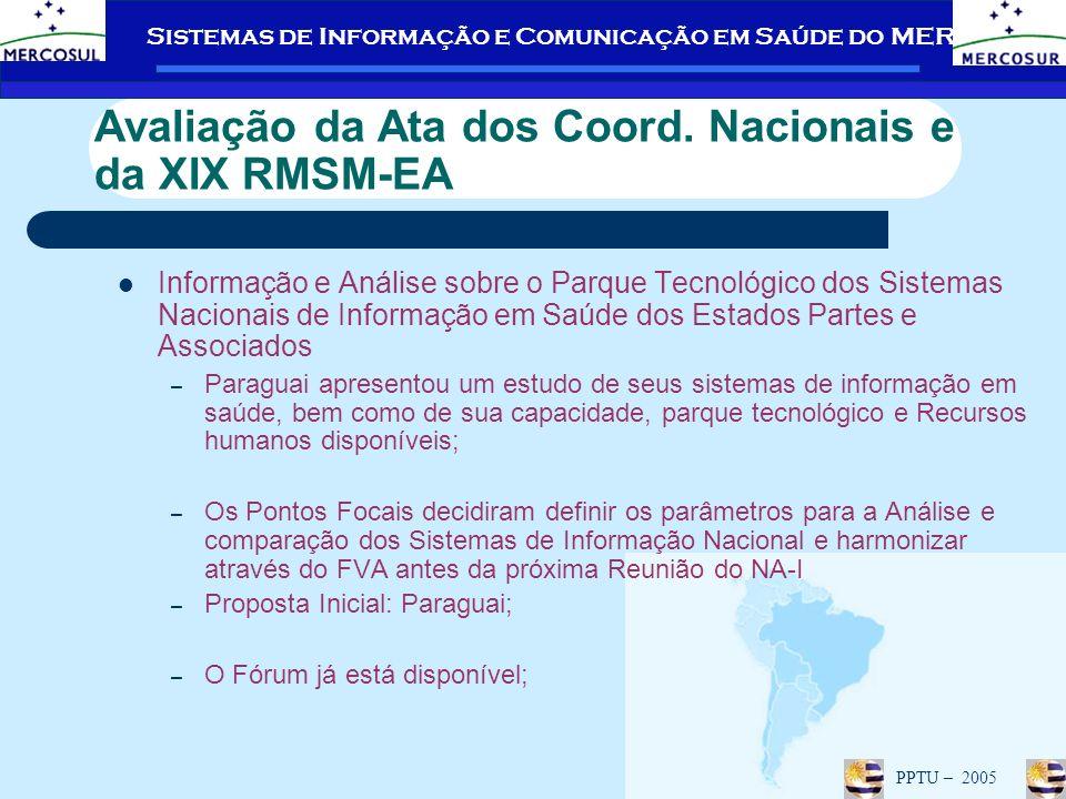 Sistemas de Informação e Comunicação em Saúde do MERCOSUL PPTU – 2005 Capacitação de Operadores do Fórum Virtual de Articulação Foram capacitados em 2004: – Brasil: julho e agosto de 2004; Reciclagem prevista para janeiro de 2006; – Paraguai – Dezembro de 2004.