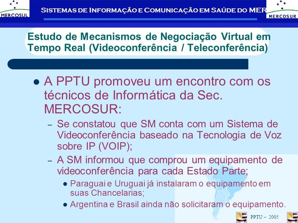 Sistemas de Informação e Comunicação em Saúde do MERCOSUL PPTU – 2005 Estudo de Mecanismos de Negociação Virtual em Tempo Real (Videoconferência / Teleconferência) A PPTU promoveu um encontro com os técnicos de Informática da Sec.