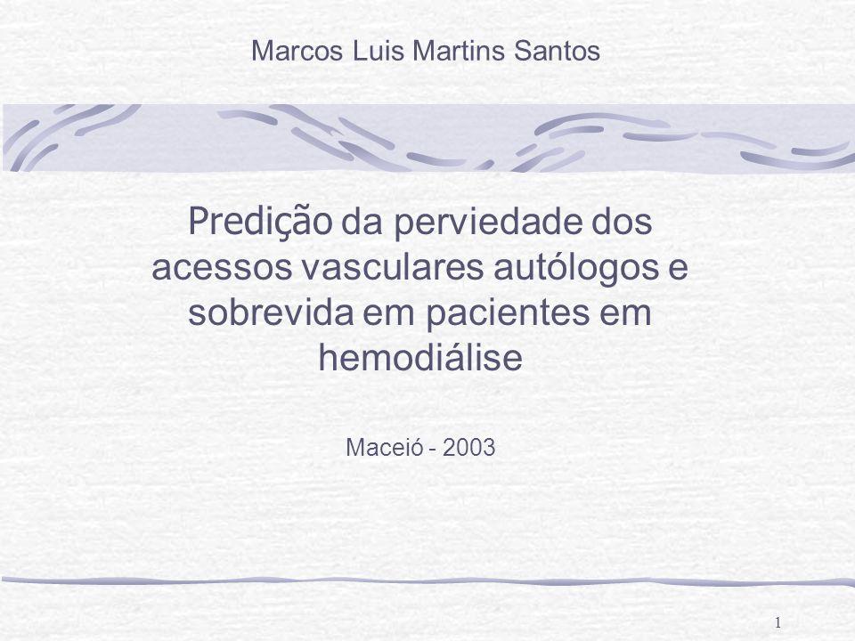 1 Predição da perviedade dos acessos vasculares autólogos e sobrevida em pacientes em hemodiálise Maceió - 2003 Marcos Luis Martins Santos