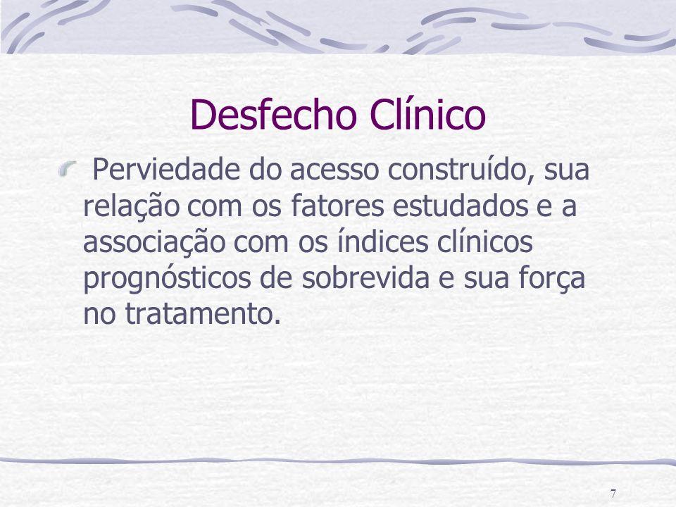 7 Desfecho Clínico Perviedade do acesso construído, sua relação com os fatores estudados e a associação com os índices clínicos prognósticos de sobrev