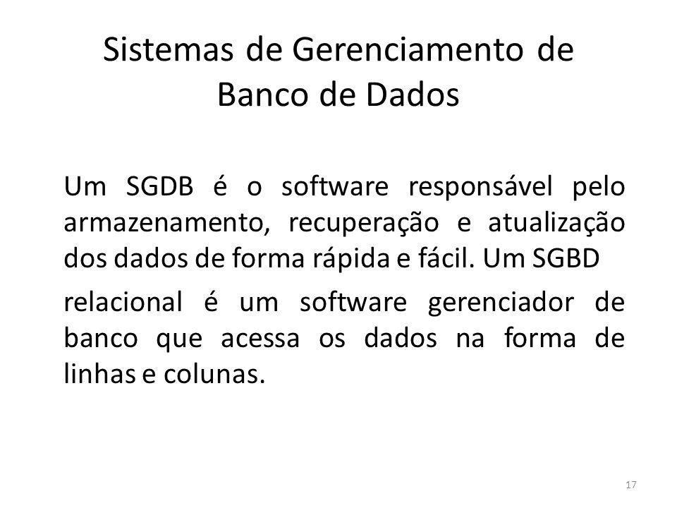 17 Sistemas de Gerenciamento de Banco de Dados Um SGDB é o software responsável pelo armazenamento, recuperação e atualização dos dados de forma rápida e fácil.