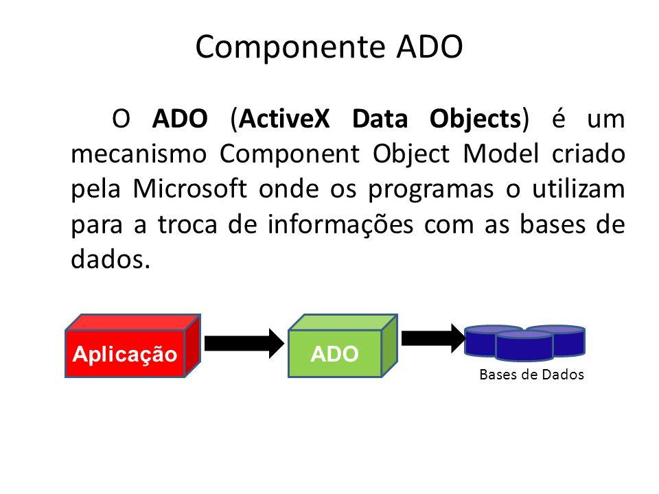 Componente ADO O ADO (ActiveX Data Objects) é um mecanismo Component Object Model criado pela Microsoft onde os programas o utilizam para a troca de informações com as bases de dados.