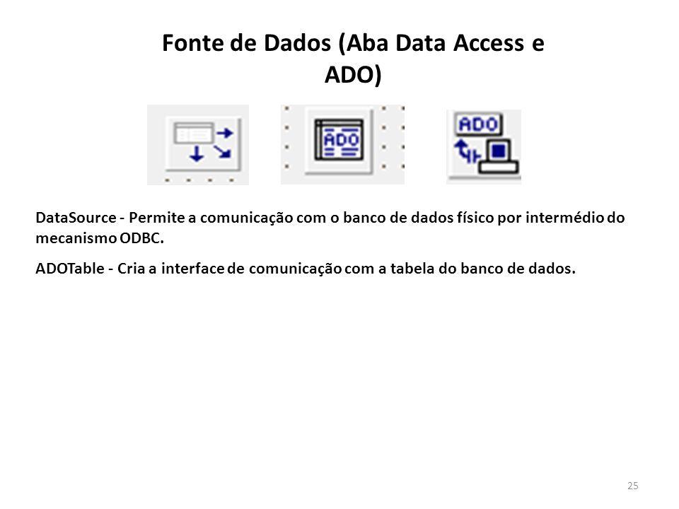25 DataSource - Permite a comunicação com o banco de dados físico por intermédio do mecanismo ODBC.
