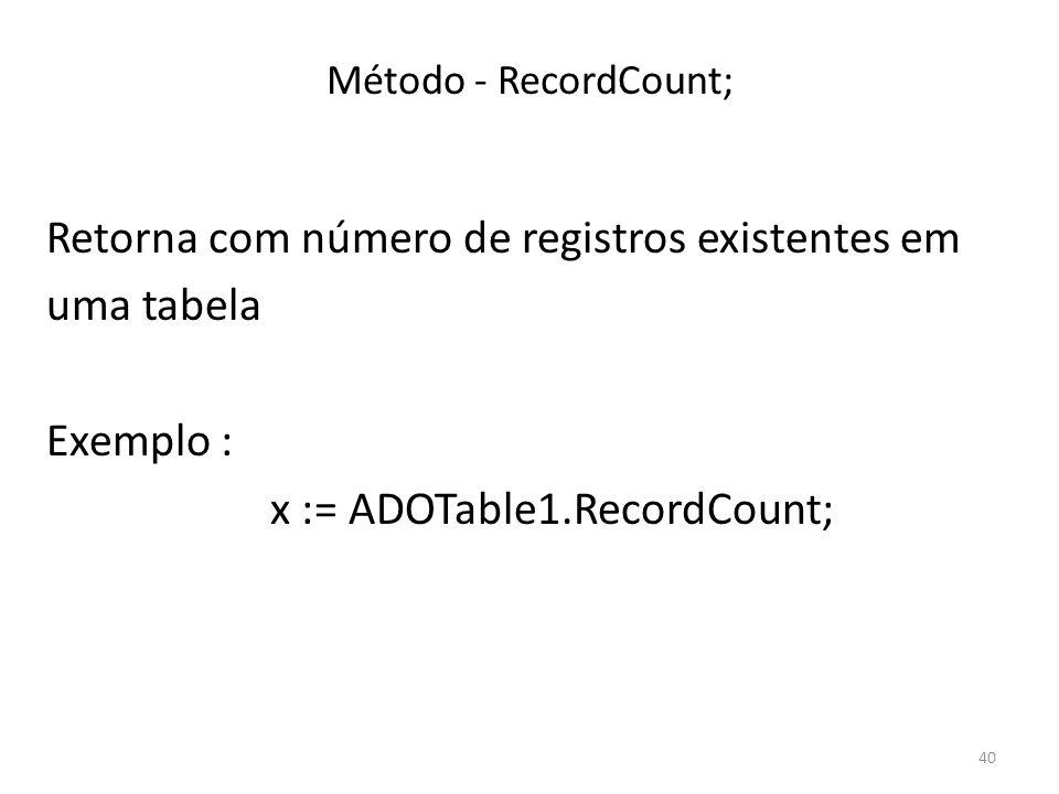 40 Método - RecordCount; Retorna com número de registros existentes em uma tabela Exemplo : x := ADOTable1.RecordCount;