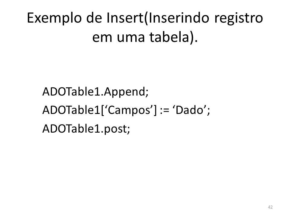 42 Exemplo de Insert(Inserindo registro em uma tabela).