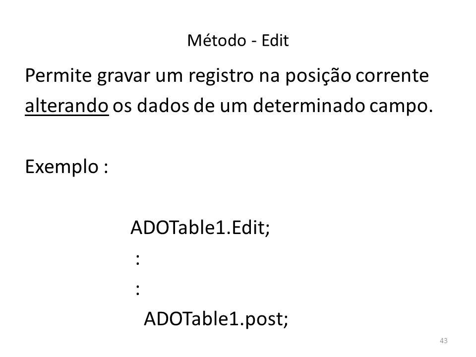 43 Método - Edit Permite gravar um registro na posição corrente alterando os dados de um determinado campo.