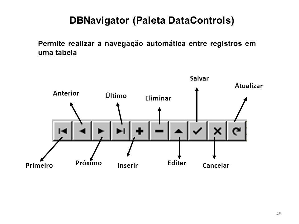 45 DBNavigator (Paleta DataControls) Permite realizar a navegação automática entre registros em uma tabela Primeiro Anterior Próximo Último Inserir Eliminar Editar Salvar Cancelar Atualizar