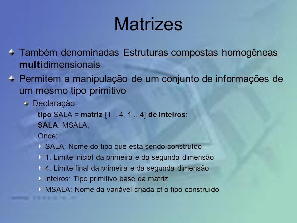 Matrizes Também denominadas Estruturas compostas homogêneas multidimensionais Permitem a manipulação de um conjunto de informações de um mesmo tipo pr