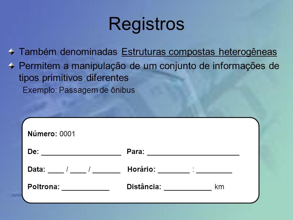 Registros Também denominadas Estruturas compostas heterogêneas Permitem a manipulação de um conjunto de informações de tipos primitivos diferentes Exe