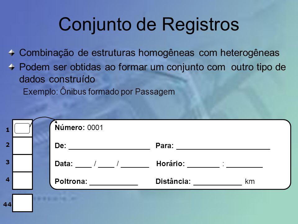 Conjunto de Registros Combinação de estruturas homogêneas com heterogêneas Podem ser obtidas ao formar um conjunto com outro tipo de dados construído