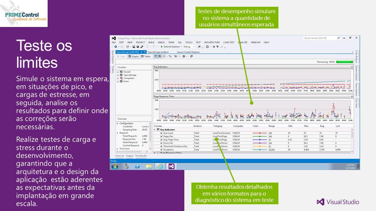 Testes de desempenho simulam no sistema a quantidade de usuários simultâneos esperada Obtenha resultados detalhados em vários formatos para o diagnóstico do sistema em teste