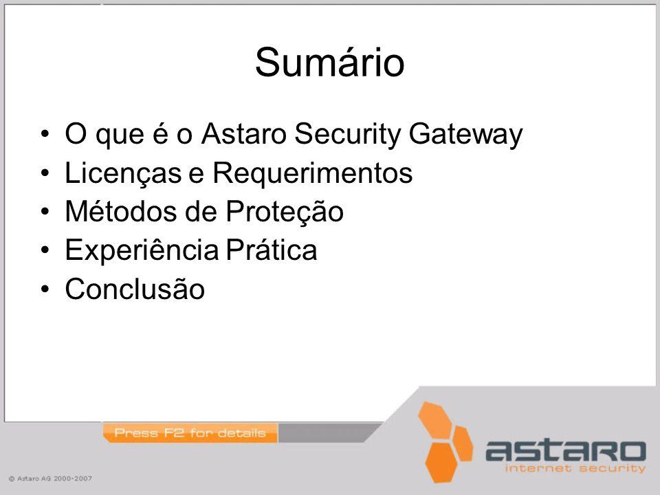 Sumário O que é o Astaro Security Gateway Licenças e Requerimentos Métodos de Proteção Experiência Prática Conclusão
