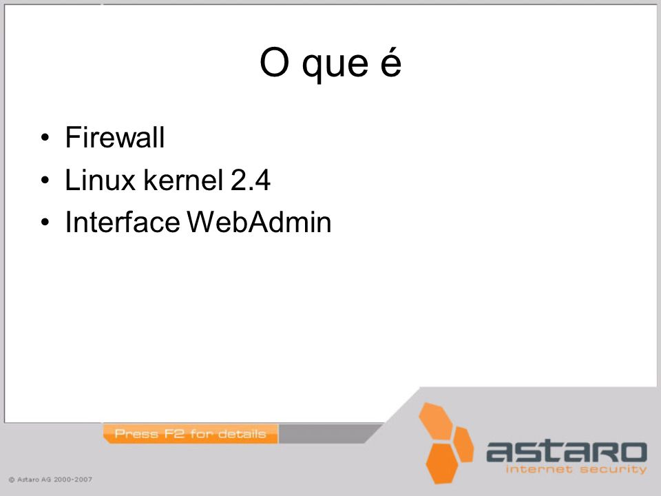 O que é Firewall Linux kernel 2.4 Interface WebAdmin