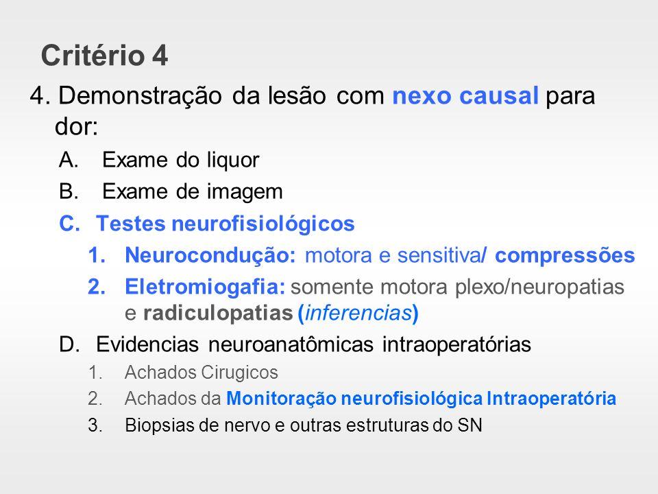 Critério 4 4. Demonstração da lesão com nexo causal para dor: A. Exame do liquor B. Exame de imagem C.Testes neurofisiológicos 1.Neurocondução: motora
