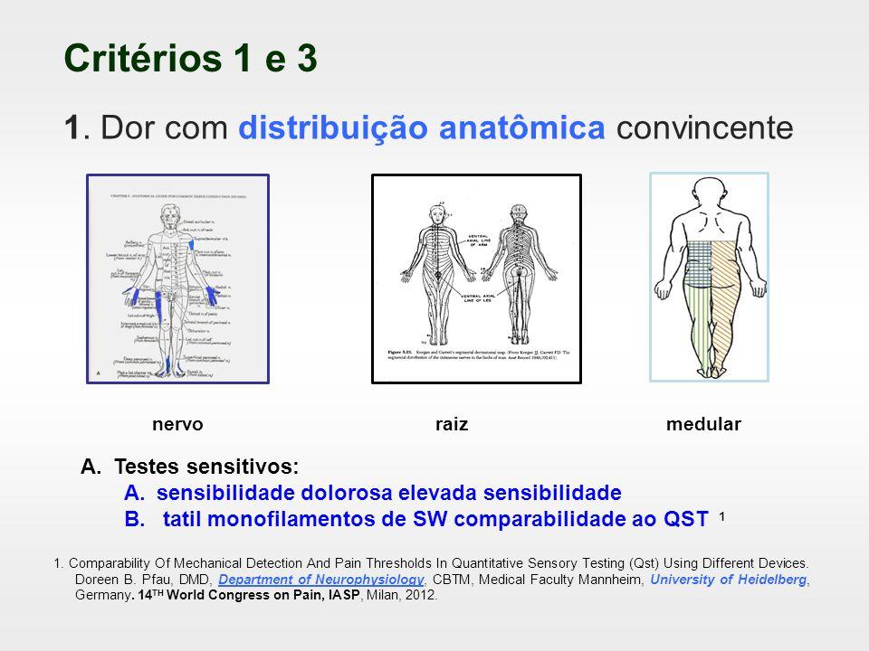 Critérios 1 e 3 1. Dor com distribuição anatômica convincente nervoraizmedular A.Testes sensitivos: A.sensibilidade dolorosa elevada sensibilidade B.