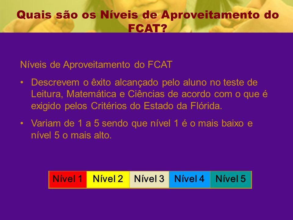 Quais são os Níveis de Aproveitamento do FCAT.