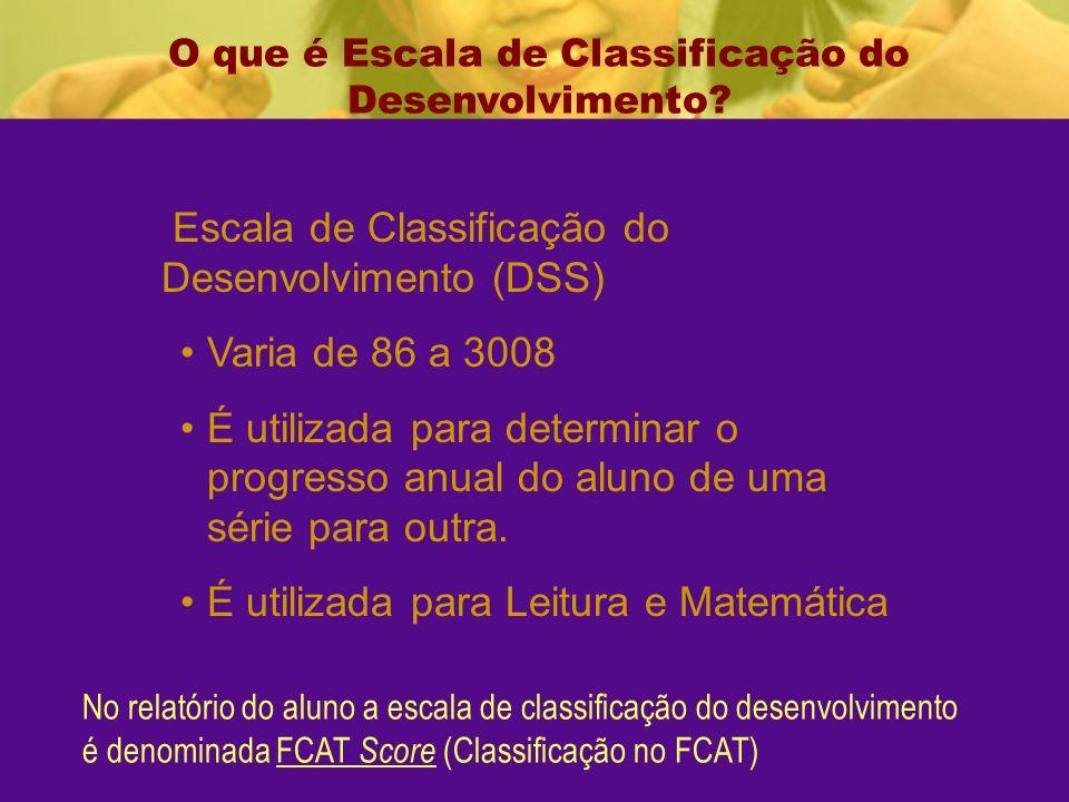 Escala de Classificação do Desenvolvimento (DSS) Varia de 86 a 3008 É utilizada para determinar o progresso anual do aluno de uma série para outra.