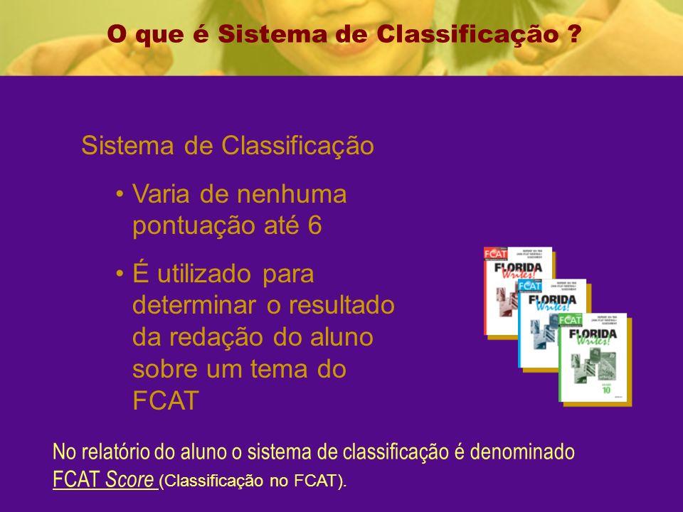 Sistema de Classificação Varia de nenhuma pontuação até 6 É utilizado para determinar o resultado da redação do aluno sobre um tema do FCAT O que é Sistema de Classificação .