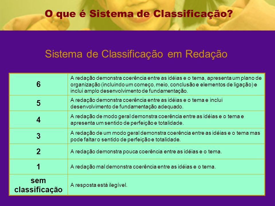 Sistema de Classificação em Redação O que é Sistema de Classificação.