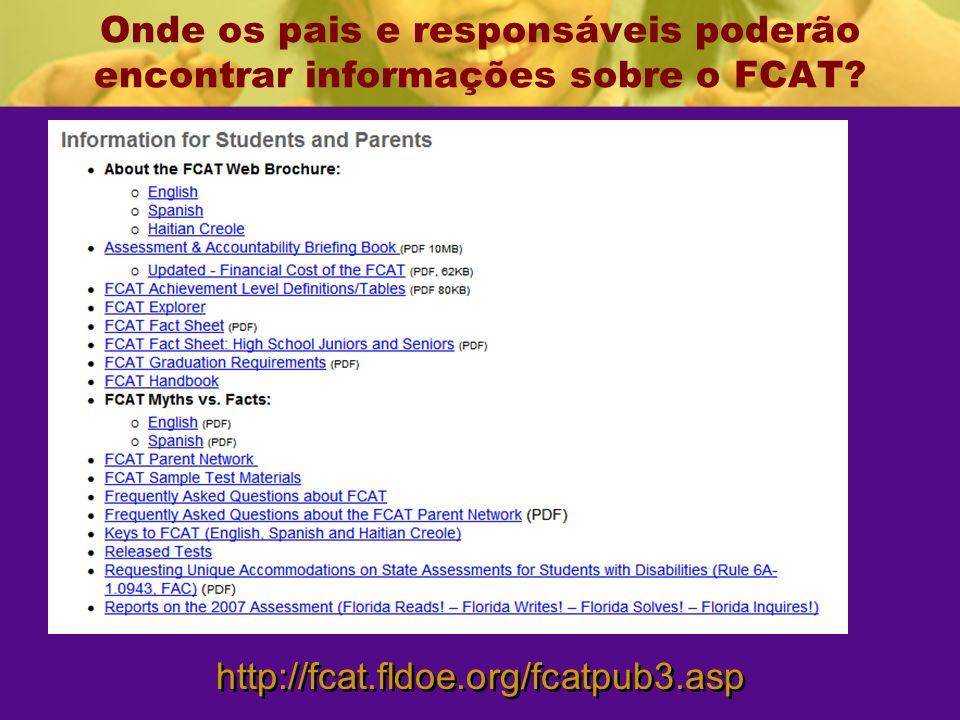 Onde os pais e responsáveis poderão encontrar informações sobre o FCAT.