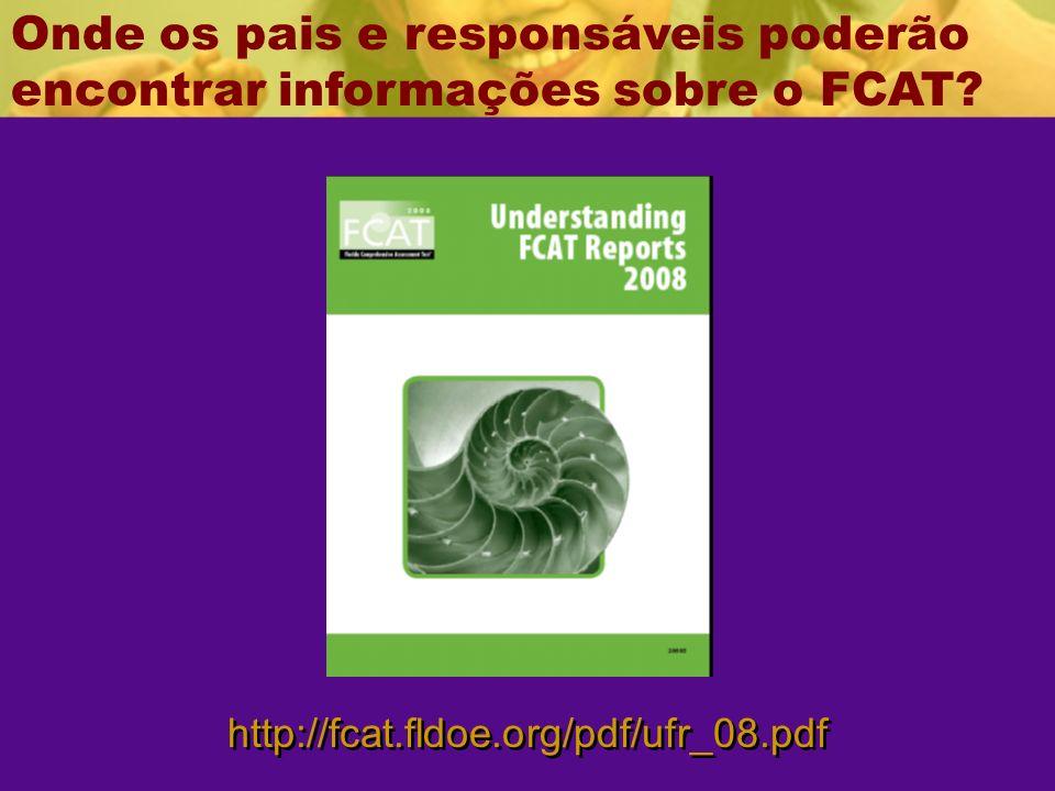 http://fcat.fldoe.org/pdf/ufr_08.pdf Onde os pais e responsáveis poderão encontrar informações sobre o FCAT?