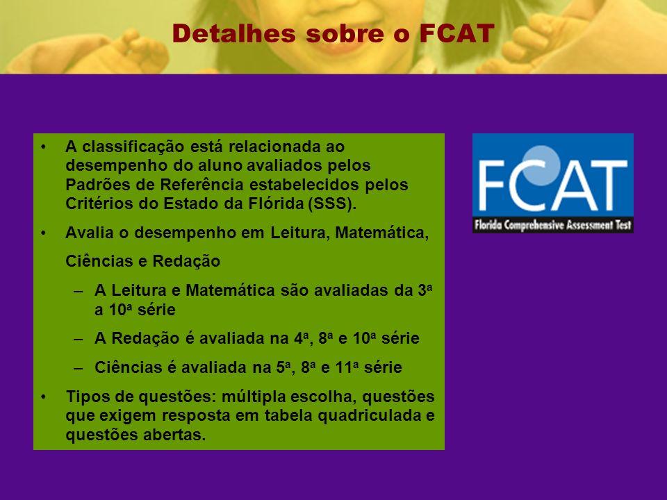 Detalhes sobre o FCAT A classificação está relacionada ao desempenho do aluno avaliados pelos Padrões de Referência estabelecidos pelos Critérios do Estado da Flórida (SSS).