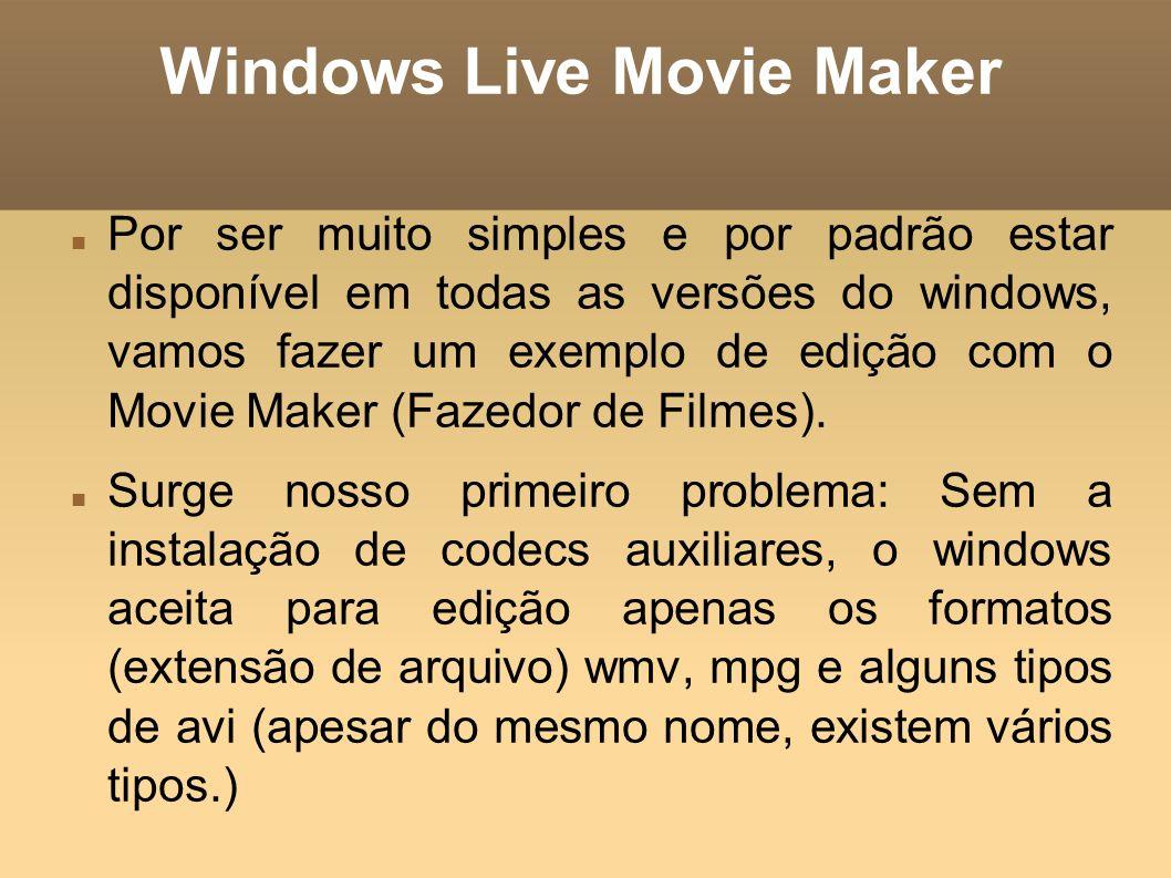 Windows Live Movie Maker Por ser muito simples e por padrão estar disponível em todas as versões do windows, vamos fazer um exemplo de edição com o Mo