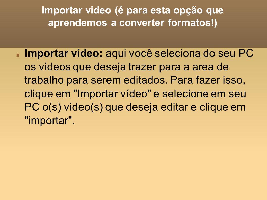 Importar video (é para esta opção que aprendemos a converter formatos!) Importar vídeo: aqui você seleciona do seu PC os videos que deseja trazer para