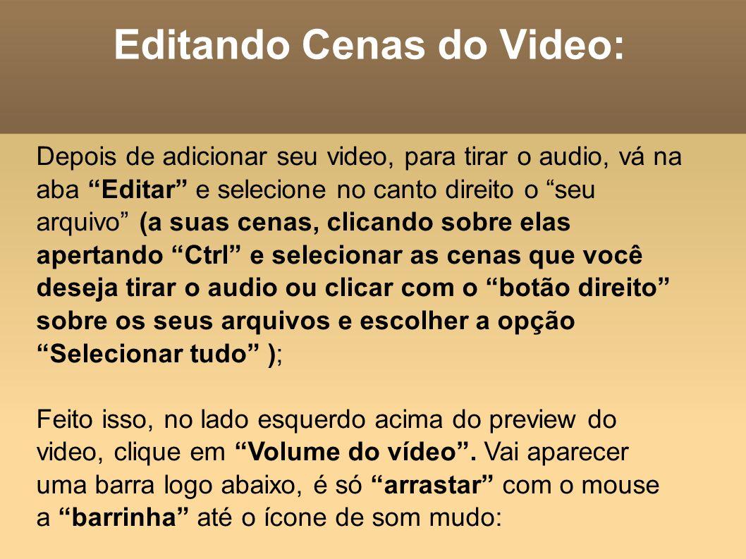 Editando Cenas do Video: Depois de adicionar seu video, para tirar o audio, vá na aba Editar e selecione no canto direito o seu arquivo (a suas cenas,