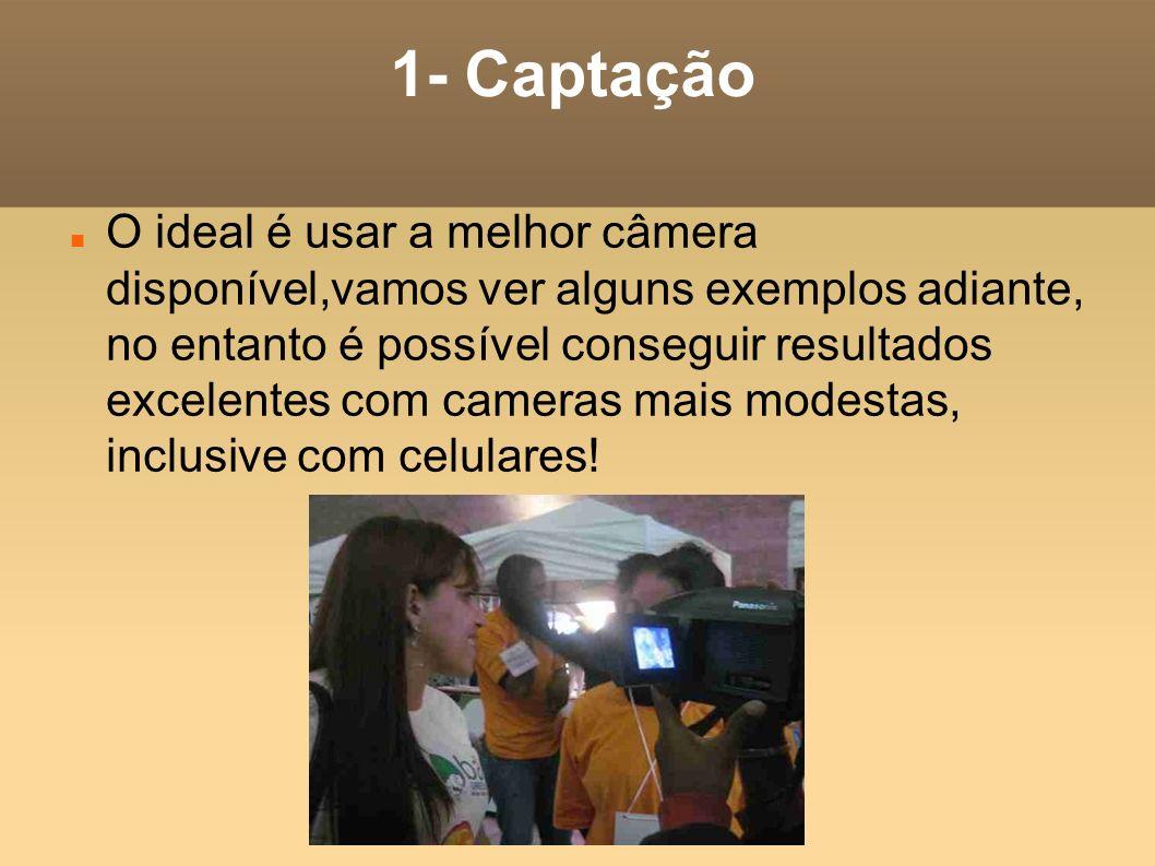1- Captação O ideal é usar a melhor câmera disponível,vamos ver alguns exemplos adiante, no entanto é possível conseguir resultados excelentes com cam