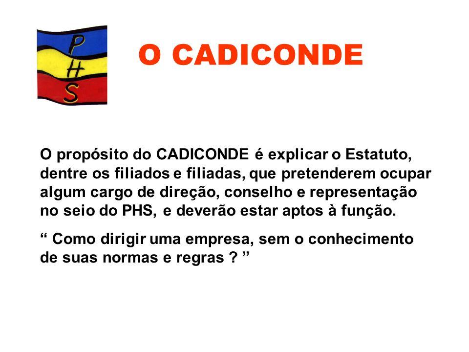 O propósito do CADICONDE é explicar o Estatuto, dentre os filiados e filiadas, que pretenderem ocupar algum cargo de direção, conselho e representação