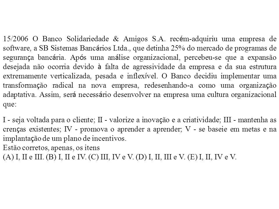 15/2006 O Banco Solidariedade & Amigos S.A.