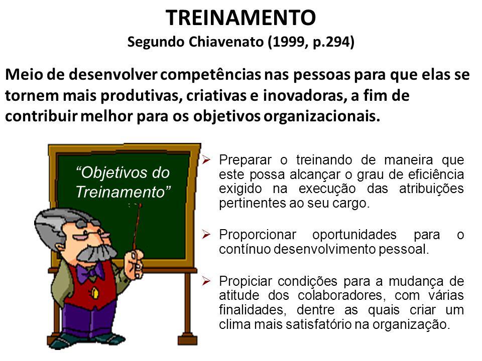 TREINAMENTO Segundo Chiavenato (1999, p.294) Meio de desenvolver competências nas pessoas para que elas se tornem mais produtivas, criativas e inovadoras, a fim de contribuir melhor para os objetivos organizacionais.