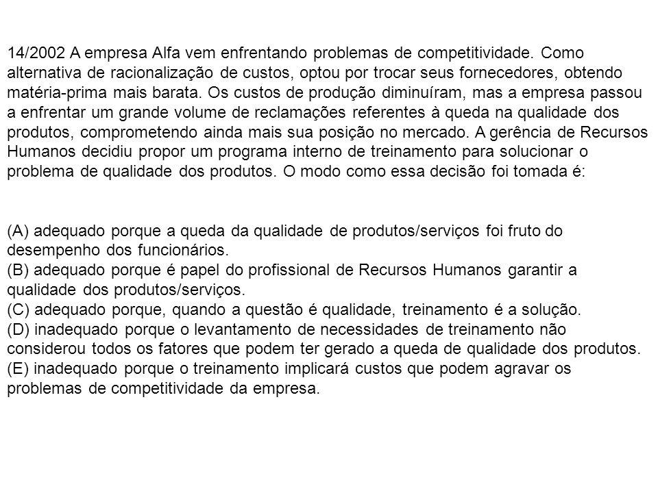 14/2002 A empresa Alfa vem enfrentando problemas de competitividade.