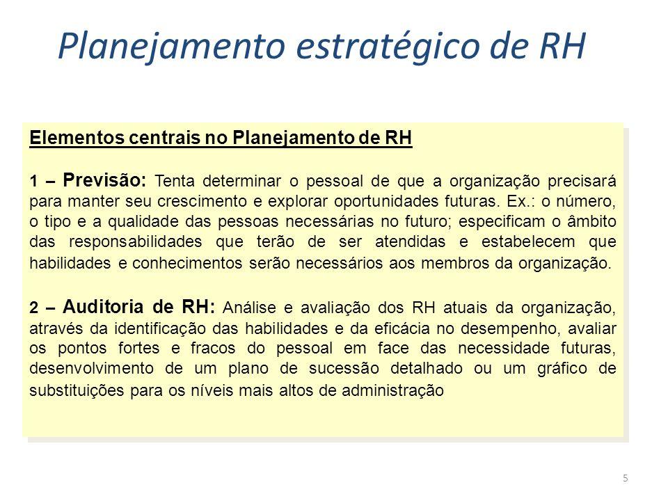 5 Elementos centrais no Planejamento de RH 1 – Previsão: Tenta determinar o pessoal de que a organização precisará para manter seu crescimento e explorar oportunidades futuras.