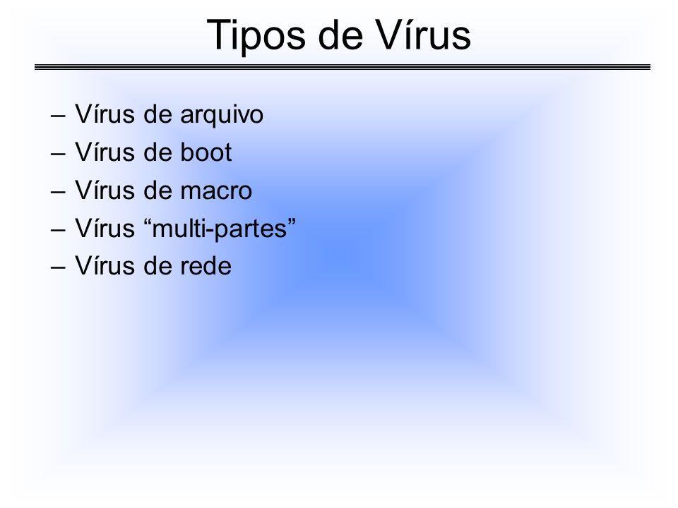 –Vírus de arquivo –Vírus de boot –Vírus de macro –Vírus multi-partes –Vírus de rede Tipos de Vírus