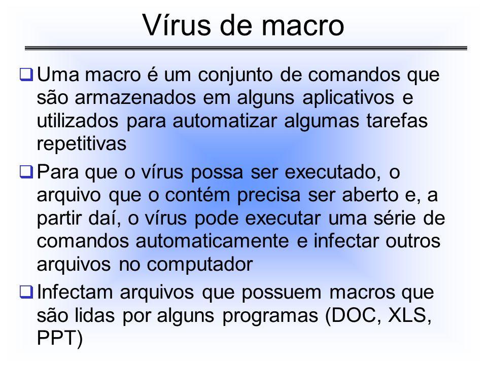 Uma macro é um conjunto de comandos que são armazenados em alguns aplicativos e utilizados para automatizar algumas tarefas repetitivas Para que o vír