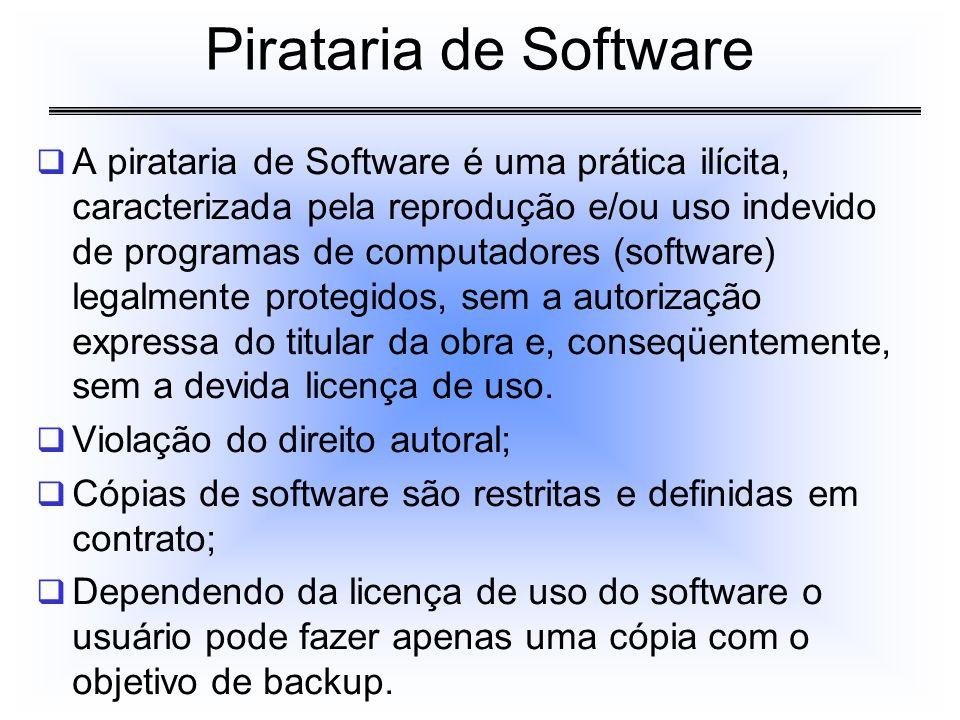 A pirataria de Software é uma prática ilícita, caracterizada pela reprodução e/ou uso indevido de programas de computadores (software) legalmente prot