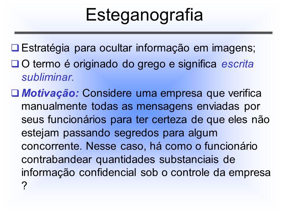 Estratégia para ocultar informação em imagens; O termo é originado do grego e significa escrita subliminar. Motivação: Considere uma empresa que verif