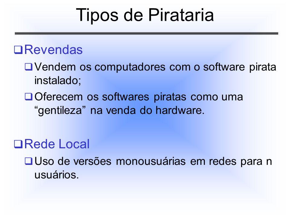 Revendas Vendem os computadores com o software pirata instalado; Oferecem os softwares piratas como uma gentileza na venda do hardware. Rede Local Uso